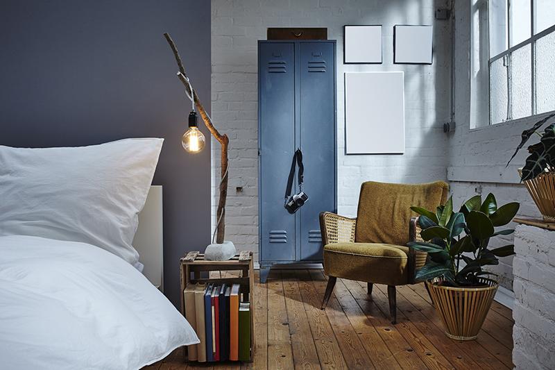 night time atmosphere in urban bedroom vintage furniture