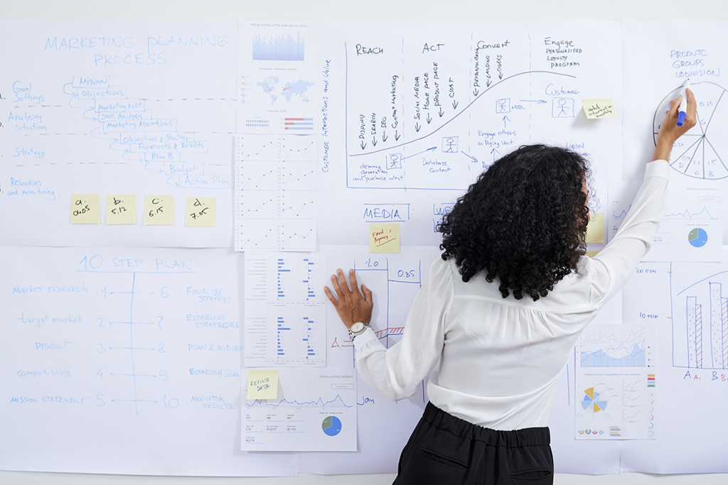 Woman drawing diagram on whiteboard